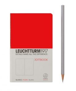 , Jottbook Pocket (A6) 60 Squared Pages, 16 Pages Perforated, Plain, Red