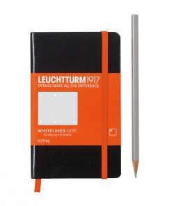 A6 - Pocket Notebook Pocket (A6) Whitelines Link, Hardcover, 185 Numbered Pages, Black, Dotted