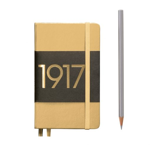 , Notebook Pocket (A6) Plain, Hardcover, 187 Numbered Pages, Gold