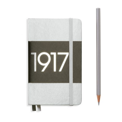 , Notebook Pocket (A6) Plain, Hardcover, 187 Numbered Pages, Silver