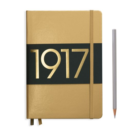 , Notebook Medium (A5) Lined, Hardcover, 251 Numbered Pages, Gold