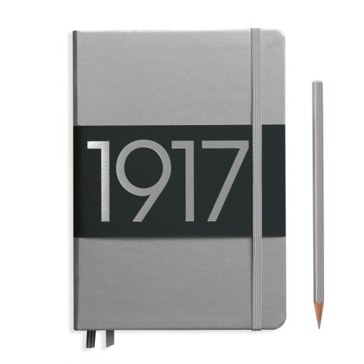 , Notebook Medium (A5) Lined, Hardcover, 251 Numbered Pages, Silver