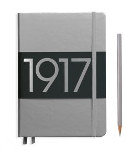 , Notebook Medium (A5) Plain, Hardcover, 251 Numbered Pages, Silver