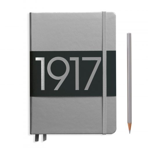 , Notebook Medium (A5) Dotted, Hardcover, 251 Numbered Pages, Silver