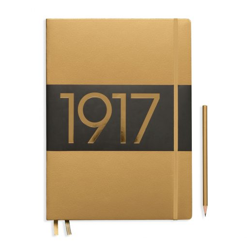 , Notebook Master Slim (A4+) Lined, Hardcover, 123 Numbered Pages, Gold