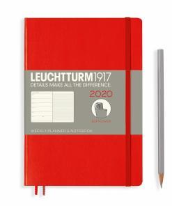 Weekly planner notebook medium a5 2020 softcover red
