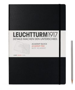 , Academy Pad Medium (A5) Hardcover, 60 Sheets/120 Pages, Plain, Black