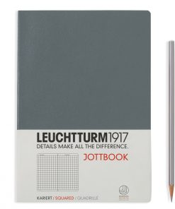 Jottbooks A5 Jottbook Medium (A5), 60 Pages, 16 Pages Perforated, Squared, Anthracite Grey