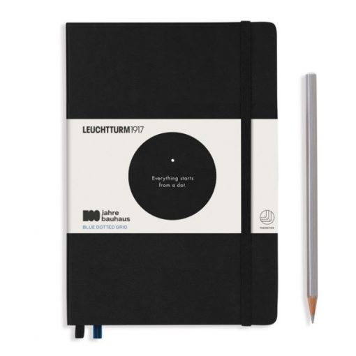, Notebook Medium (A5), Hardcover, 251 Numbered Pages, Black, Bauhaus 100