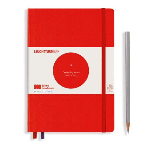 , Notebook Medium (A5), Hardcover, 251 Numbered Pages, Red, Bauhaus 100