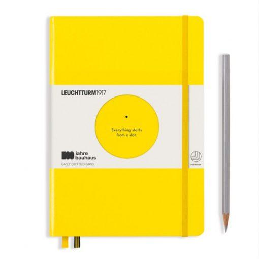 , Notebook Medium (A5), Hardcover, 251 Numbered Pages, Lemon, Bauhaus 100