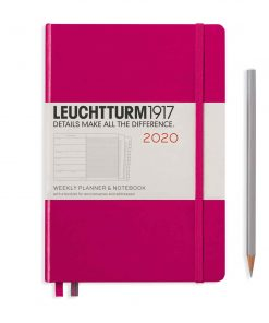 2020 Diaries - Available September 2019 - Backorder Now Weekly Planner & Notebook Medium (A5) 2020, with Extra Booklet, Berry, English