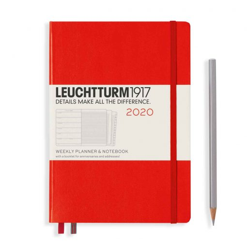 , Weekly Planner & Notebook Medium (A5) 2020, with Extra Booklet, Red