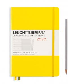 2020 Diaries - Available September 2019 - Backorder Now Weekly Planner & Notebook Medium (A5) 2020, with Extra Booklet, Lemon, English