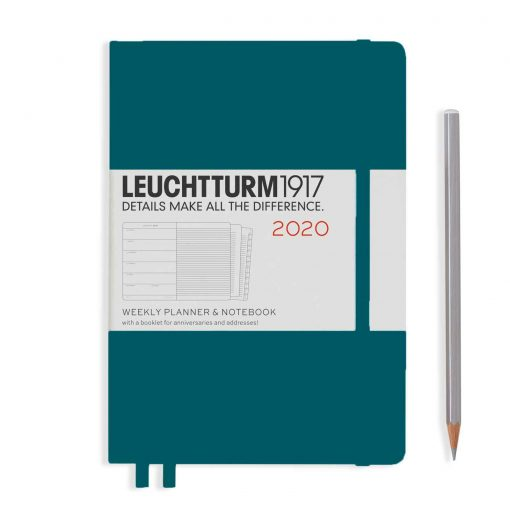 , Weekly Planner & Notebook Medium (A5) 2020, with Extra Booklet, Pacific Green
