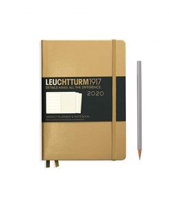 2020 Diaries - Available September 2019 - Backorder Now Weekly Planner & Notebook Medium (A5) 2020, with Extra Booklet, Gold, English