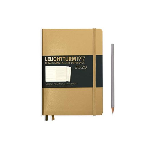 , Weekly Planner & Notebook Medium (A5) 2020, with Extra Booklet, Gold
