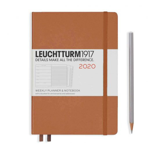, Weekly Planner & Notebook Medium (A5) 2020, with Extra Booklet, Copper