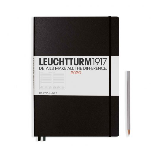 , Daily Planner 12 Months Medium (A5) 2020, with Extra Booklet, Black