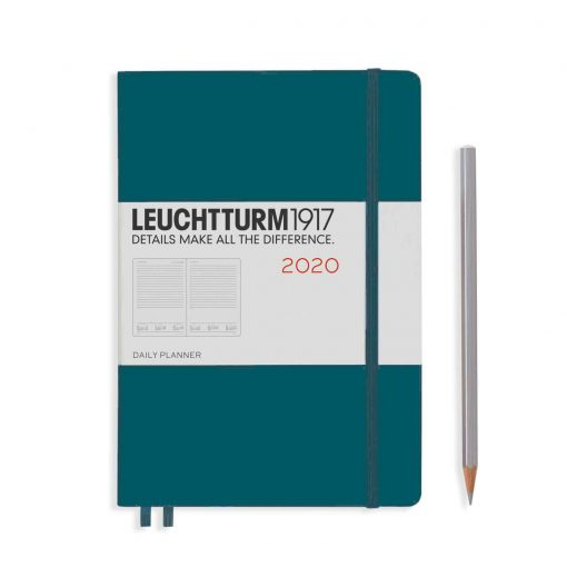 , Daily Planner 12 Months Medium (A5) 2020, with Extra Booklet, Pacific Green