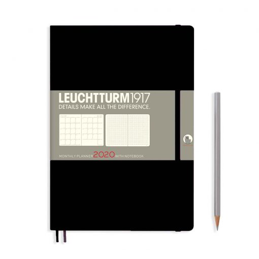 , Monthly Planner & Notebook 12 Months Comp. (B5) 2020, with Extra Booklet, Black, English