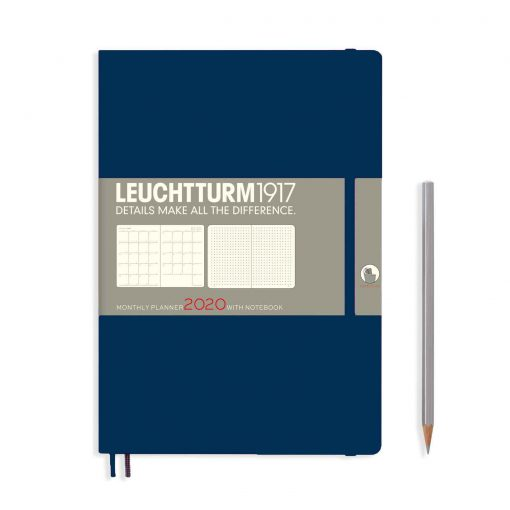 , Monthly Planner & Notebook 12 Months Comp. (B5) 2020, with Extra Booklet, Navy, English
