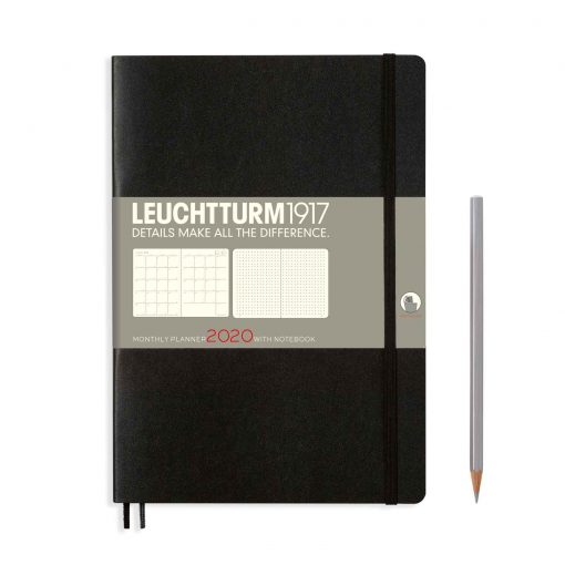 , Monthly Planner & Notebook 12 Months Paperback (B6+) 2020, With Ex. Booklet, Black