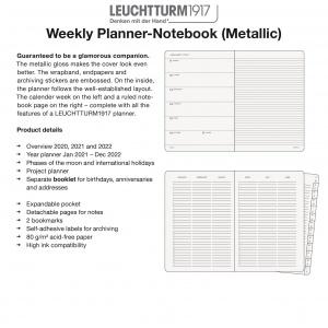 2021 Weekly Planner-Notebook Metallic